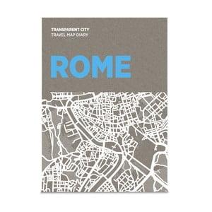 Mapa Rzymu z przezroczystymi kartkami na notatki Transparent City