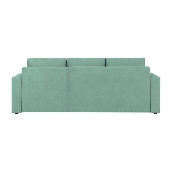 Miętowa 3-osobowa narożna rozkładana sofa ze schowkiem Melart Louise