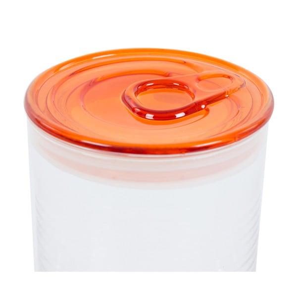 Pojemnik szklany z pomarańczowym wieczkiem Kaleidos Can, 10,5x16cm