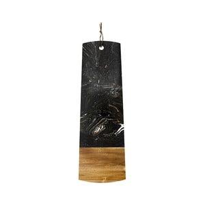 Czarna deska do serwowania z kamienia i drewna Ladelle