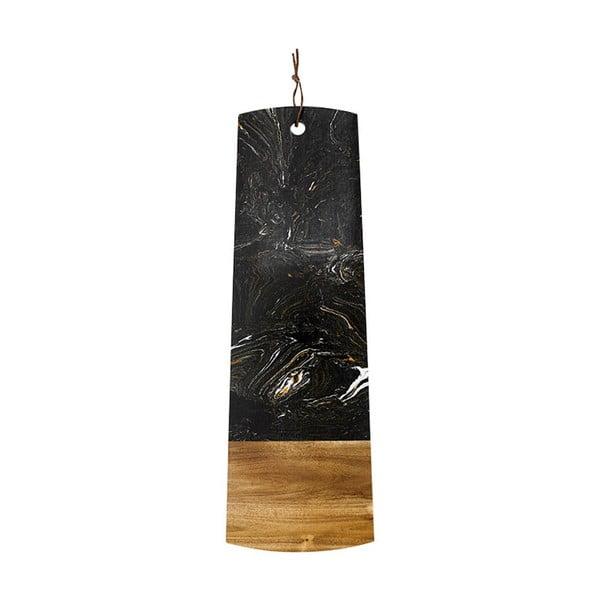 Czarna deska do serwowania z kamienia i drewna akacji Ladelle, dł. 60 cm