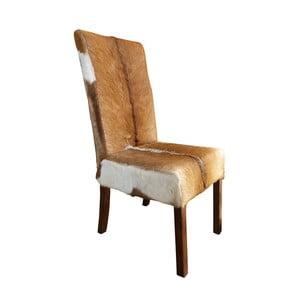 Krzesło z drewna tekowego i koziej skóry Orchidea Milano Aspen