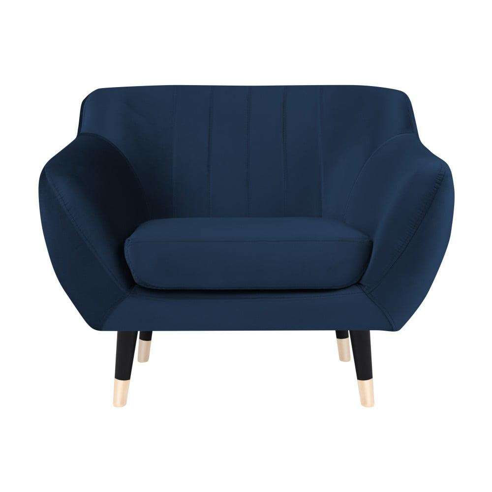 Granatowy fotel z czarnymi nogami Mazzini Sofas Benito