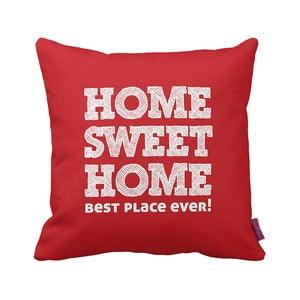 Czerwono-biała   poduszka Home Red, 43x43cm