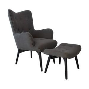 Fotel z podnóżkiem Ordinary, szary