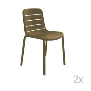 Zestaw 2 brązowych krzeseł ogrodowych Resol Gina