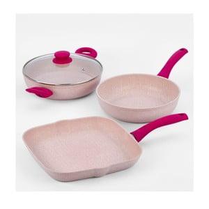 Komplet garnków z różową rączką Bisetti Stonerose, 4 części