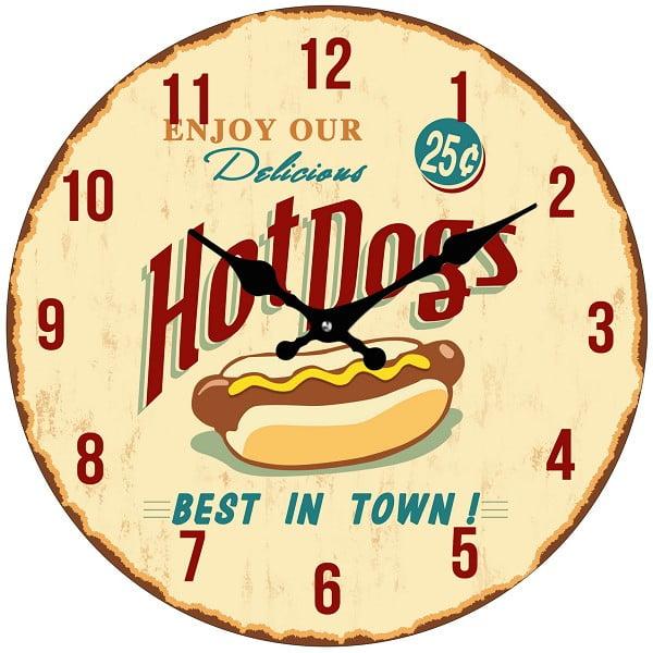 Szklany zegar Hot Dog, 34 cm