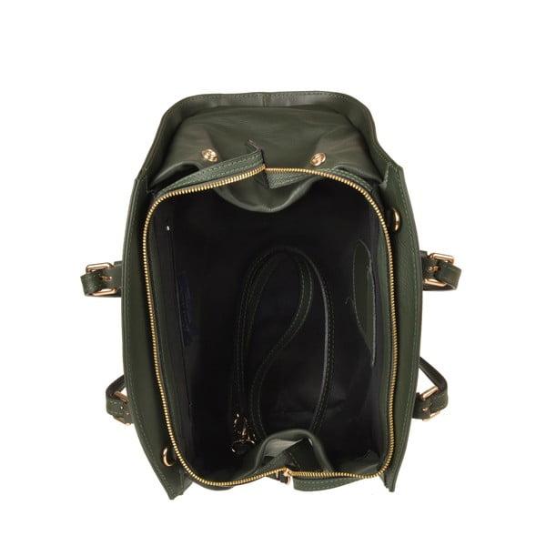 Skórzana torebka Aston, ciemnozielona