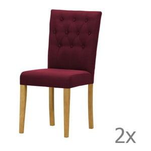 Komplet 2 krzeseł Monako Etna Dark Violet, naturalne nóżki