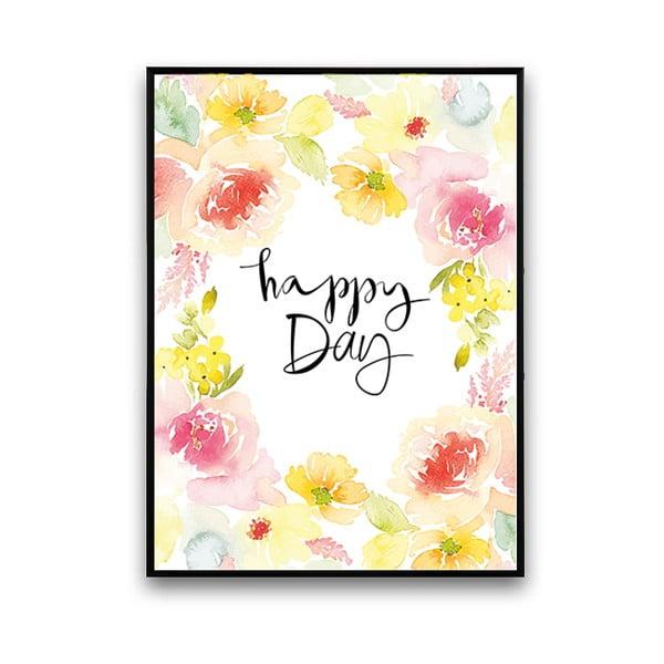 Plakat z abstrakcyjnymi kwiatami Happy Day, 30 x 40 cm