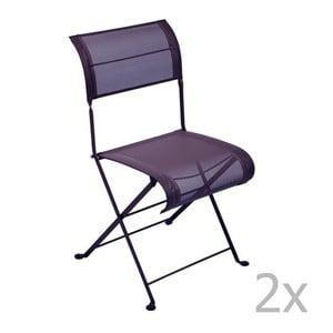 Zestaw 2 fioletowych krzeseł składanych Fermob Dune