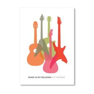 "Plakat autorski ""Music is My Religion Hendrix"""
