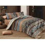 Dwuosobowa pościel bawełniana z prześcieradłem i 2 poszewkami na poduszkę Adriana,200x220cm