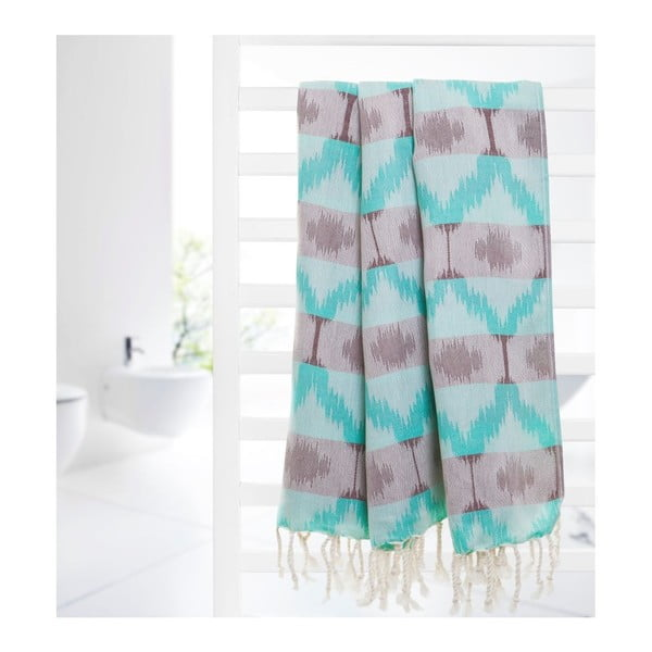 Ręcznik hammam Ripple Green, 95x180 cm