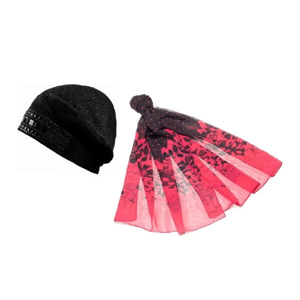 Czapka i chusta Pink and Black