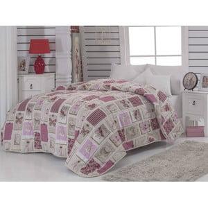 Narzuta pikowana na łóżko dwuosobowe Ekol Dusty Rose, 195x215 cm