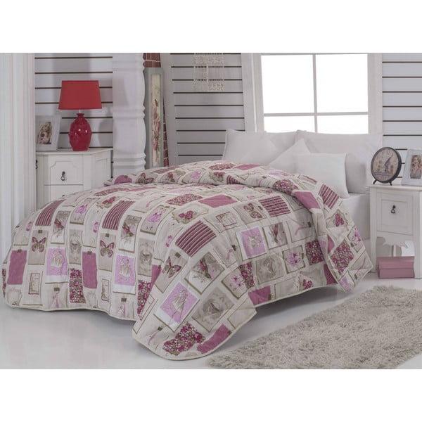 Narzuta pikowana na łóżko jednoosobowe Ekol Dusty Rose, 155x215 cm