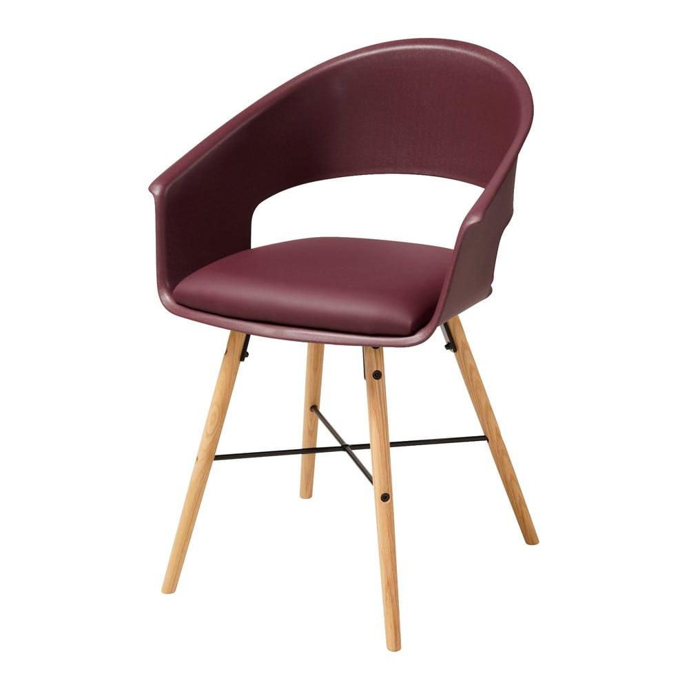 Bordowe krzesło z konstrukcją z drewna bukowego Actona Iwar