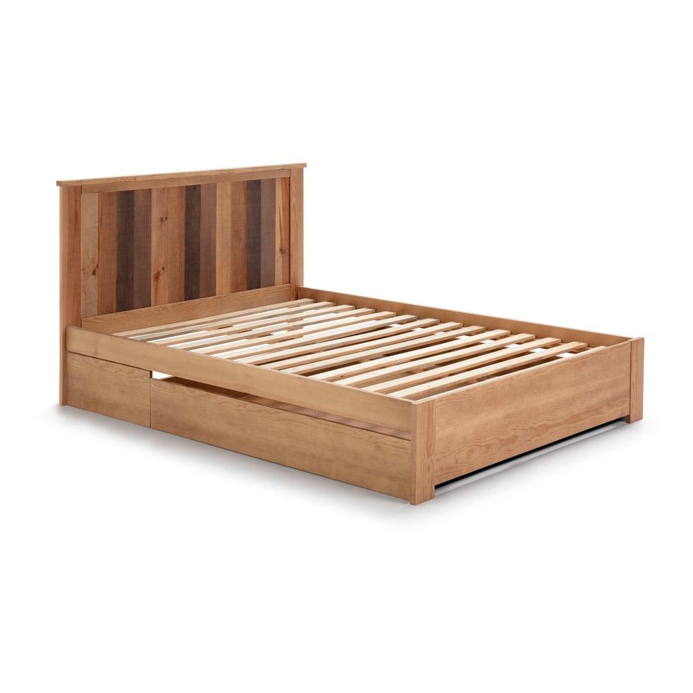 Łóżko z szufladą i nogami z drewna sosnowego Marckeric Maude, 140 x 190 cm
