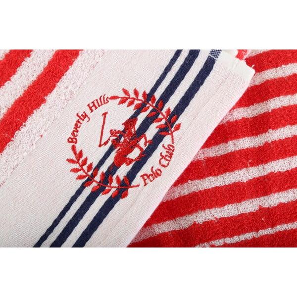 Ręcznik bawełniany BHPC 50x100 cm, czerwono-biały