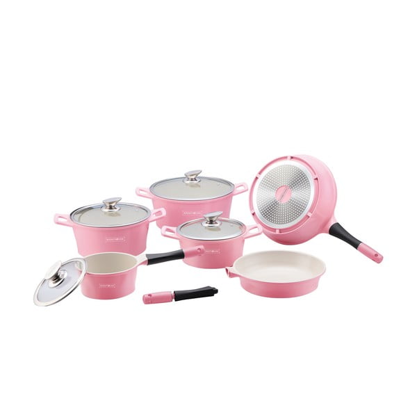 10-częściowy ceramiczny komplet garnków i patelni Die Cast, różowy