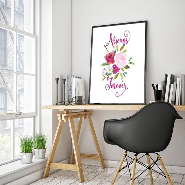 Plakat w drewnianej ramie Always forever , 38x28 cm