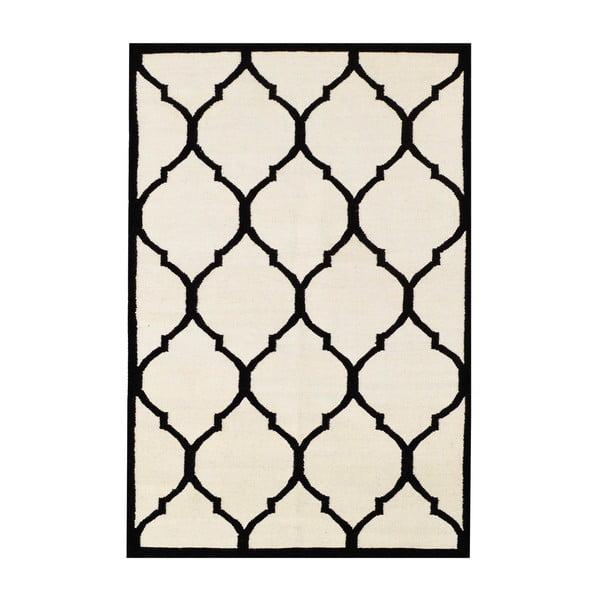 Ręcznie tkany dywan Lara Ivory Black, 140x200 cm