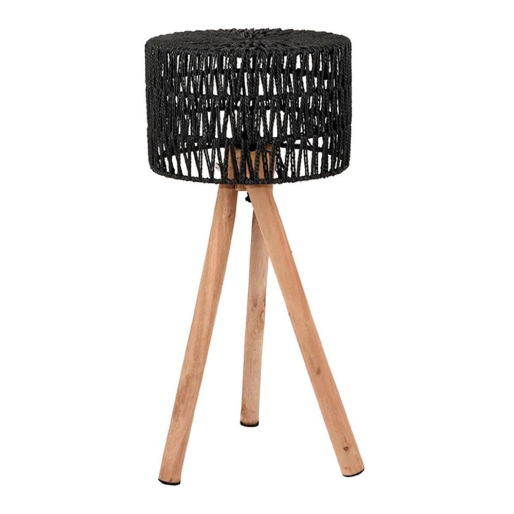 Czarna lampa stołowa z drewna mango LABEL51 Stripe