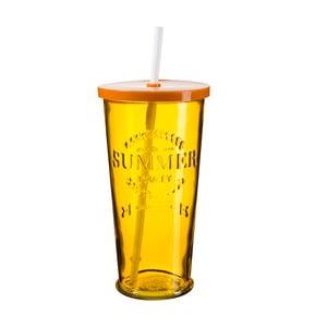 Zestaw 4 pomarańczowych szklanek z wieczkiem i słomką SUMMER FUN II, 650 ml