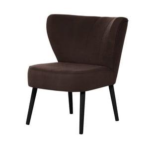 Ciemnobrązowy fotel z czarnymi nogami My Pop Design Hamilton