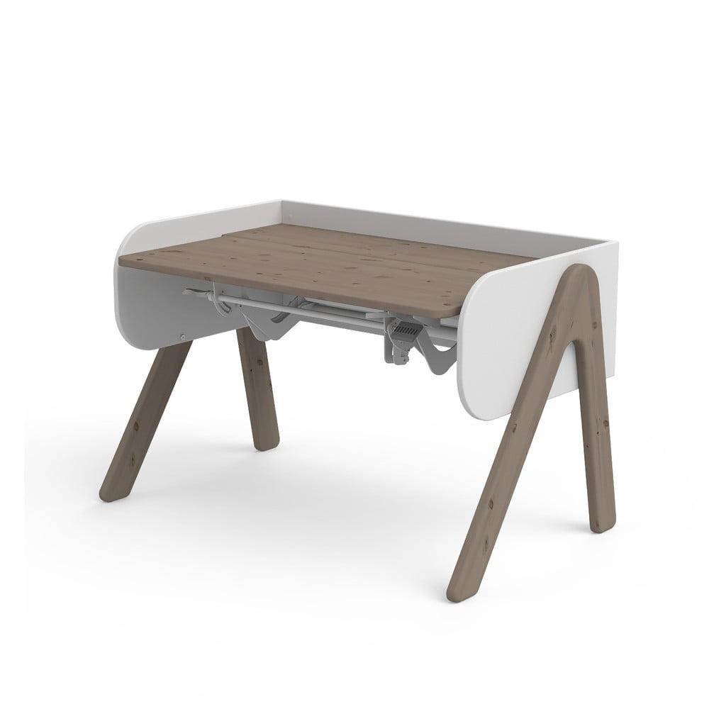 Ciemnobrązowo-białe biurko z drewna sosnowego z regulacją wysokości Flexa Woody