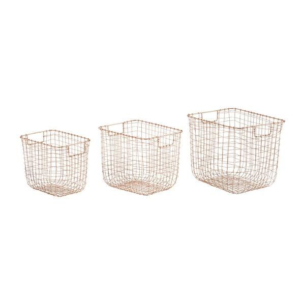 Zestaw 3 koszyczków Athezza Copper