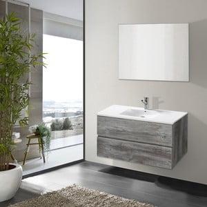 Szafka do łazienki z umywalką i lustrem Flopy, motyw vintage, 80 cm