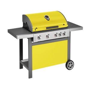 Żółty grill gazowy z 4 palnikami, termometrem i boczną kuchenką Jamie Oliver BBQ