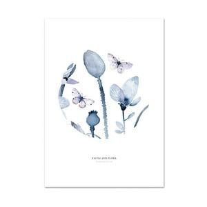 Plakat Leo La Douce Poppies & Butterflies I, 21x29,7cm