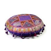 Poduszka do siedzenia wyszywana ręcznie Radżastan, fioletowa