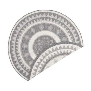 Szaro-kremowy dywan dwustronny odpowiedni na zewnątrz Bougari Jamaica, ⌀ 140 cm
