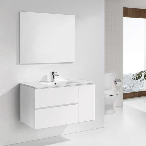 Szafka do łazienki z umywalką i lustrem Happy, odcień bieli, 100 cm