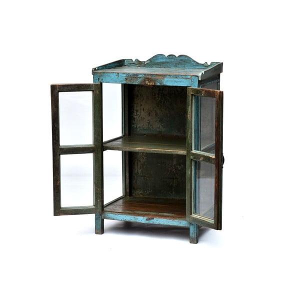 Szafka z witrynką Goa 65x102 cm, niebieska patyna