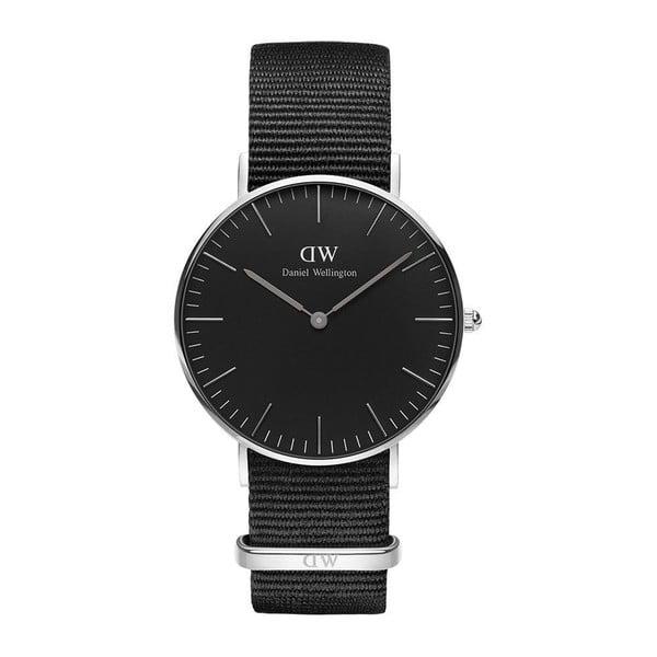 Czarny zegarek unisex z detalami w srebrnej barwie DanielWellingtonConrwallSilver, ⌀36mm