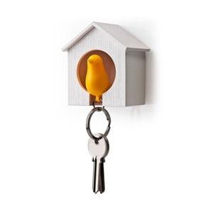 Wieszak na klucze wróbelek w budce, pomarańczowy