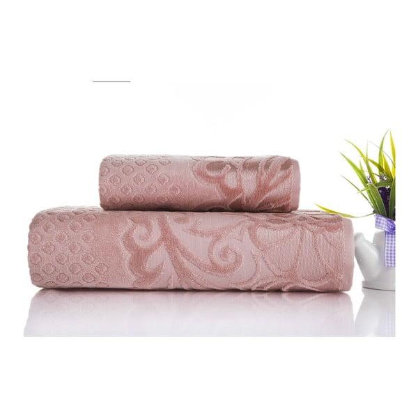 Zestaw 2 ręczników Kumsal Rose, 50x90 cm i 70x140 cm