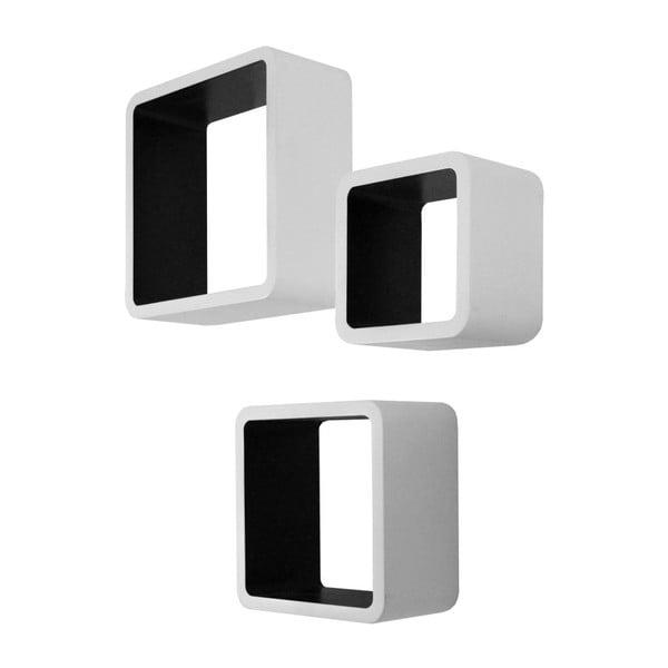 Zestaw 3 czarno-białych półek Intertade Cubo