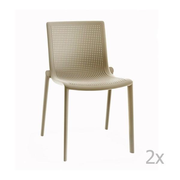 Zestaw 2 beżowych krzeseł ogrodowych Resol beekat
