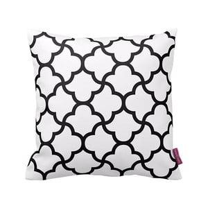 Biała poduszka z czarnym wzorem Puff, 43x43 cm