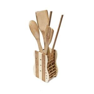 Zestaw 4 kuchennych akcesoriów ze stojakiem Bamboo