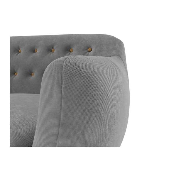 Trzyosobowa sofa Indigo, szara z żółtymi guzikami