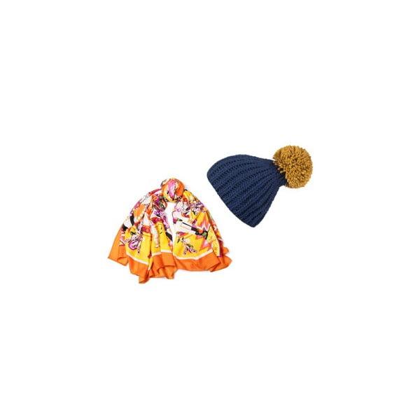 Czapka i chusta Orange and Blue