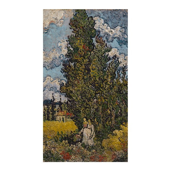 Obraz Vincenta van Gogha - Cypresses and Two Women, 70x46 cm